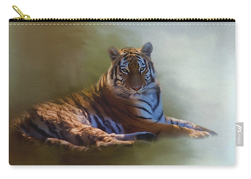 Be Calm In Your Heart Carry-all Pouch featuring the painting Be Calm In Your Heart - Tiger Art by Jordan Blackstone