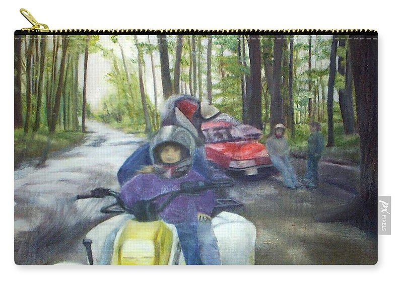 Quad Carry-all Pouch featuring the painting Be Right Back by Sheila Mashaw
