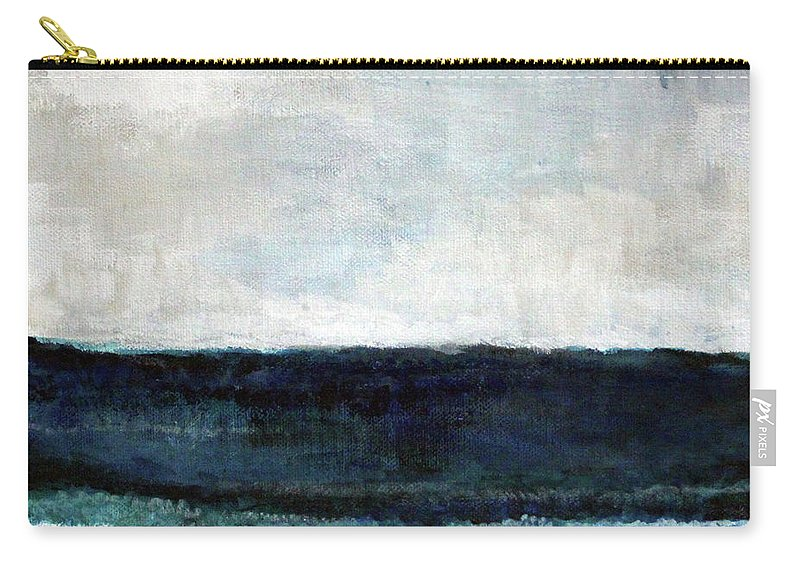 Beach Carry-all Pouch featuring the painting Beach- abstract painting by Linda Woods