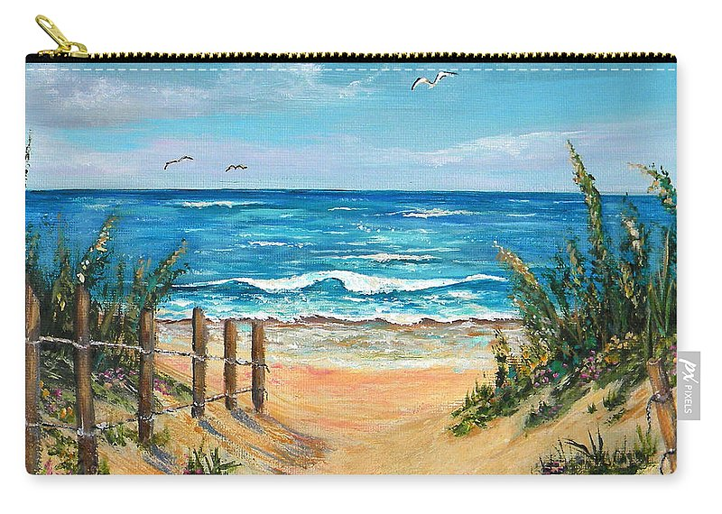 Sand Dunes Carry-all Pouch featuring the painting Beach Access by Trisha Calabrese