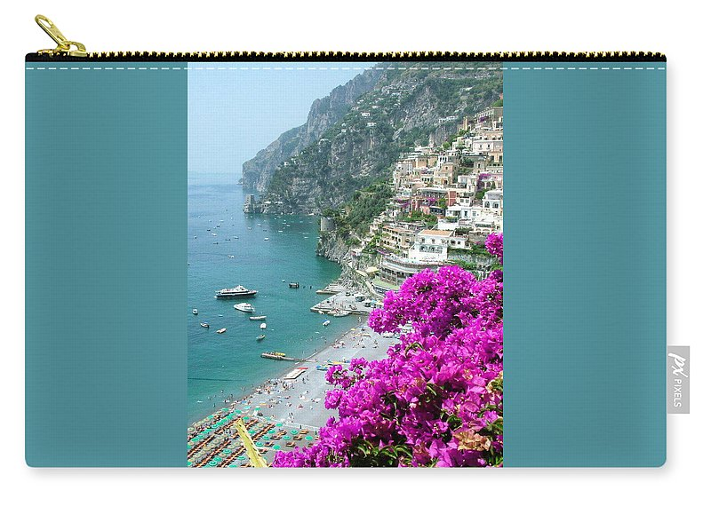 Positano Carry-all Pouch featuring the photograph Beach At Positano by Donna Corless