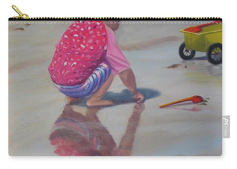 Baby Carry-all Pouch featuring the painting Beach Baby by Lea Novak