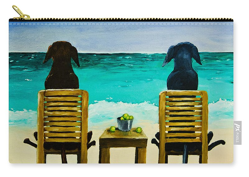 Labrador Retriever Carry-all Pouch featuring the painting Beach Bums by Roger Wedegis