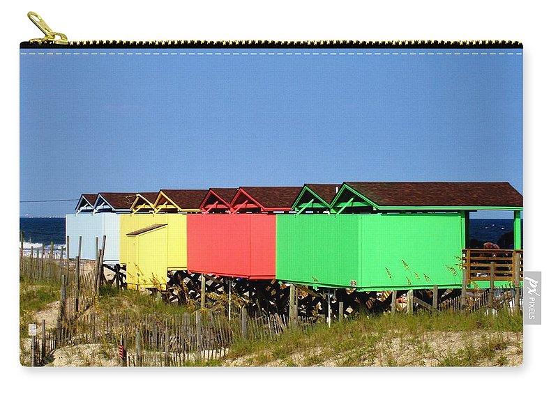 Beach Carry-all Pouch featuring the photograph Beach Cabanas by Deborah Crew-Johnson