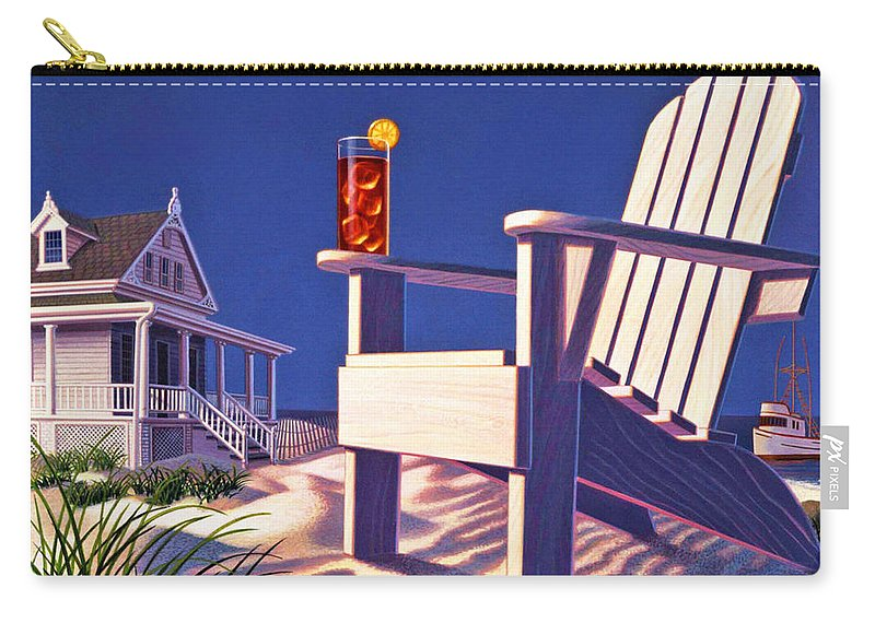 Beach Chair Carry-all Pouch featuring the painting Beach Chair by Robin Moline