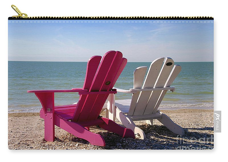 Beach Chairs Carry-all Pouch featuring the photograph Beach Chairs by David Lee Thompson