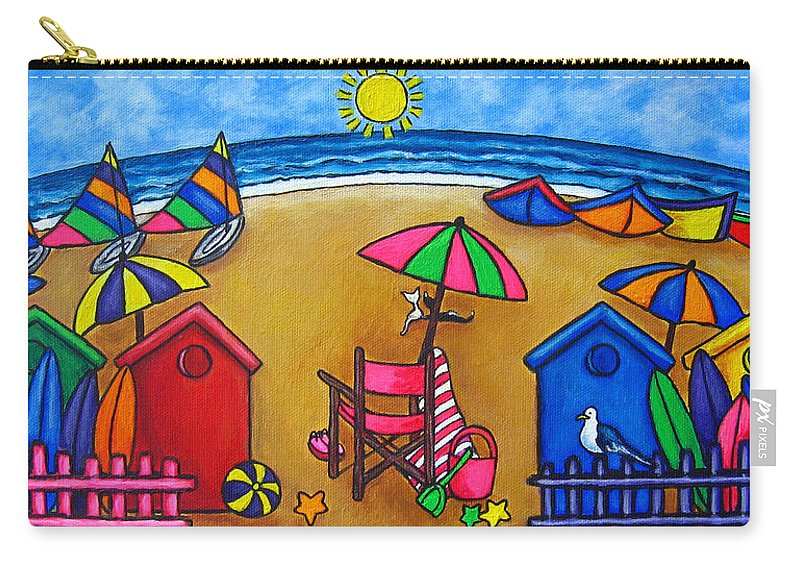 Beach Carry-all Pouch featuring the painting Beach Colours by Lisa Lorenz