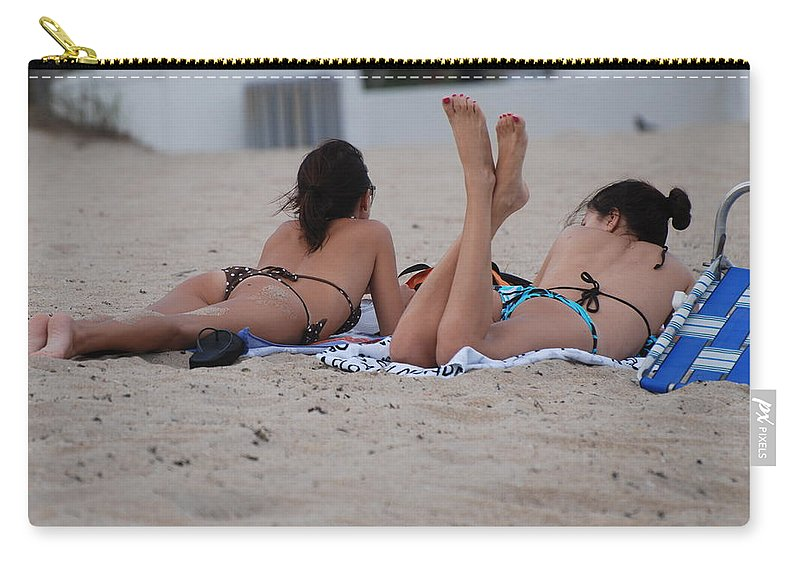 Girls Carry-all Pouch featuring the photograph Beach Combers by Rob Hans