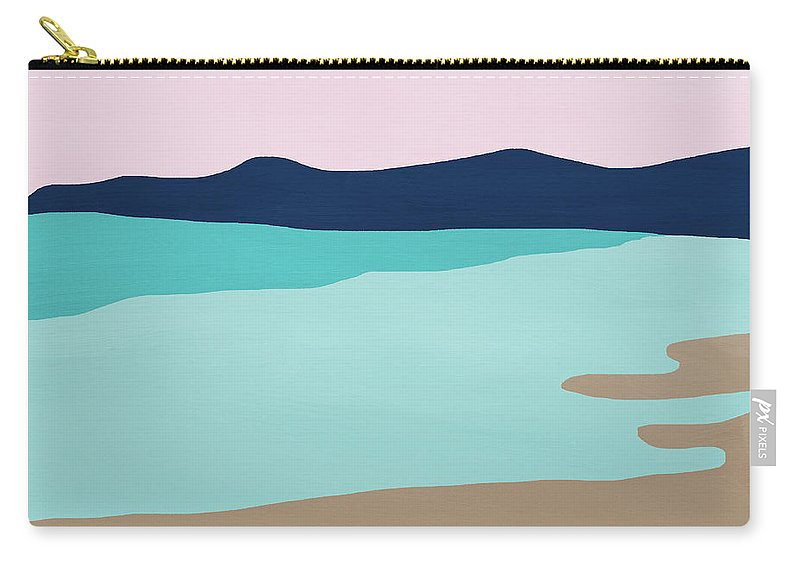 Beach Carry-all Pouch featuring the mixed media Beach Cove- Art By Linda Woods by Linda Woods