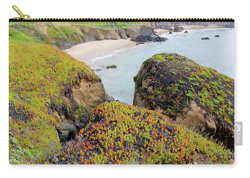 Pigeon Point Carry-all Pouch featuring the photograph Beach Coves At Pigeon Point by Art Block Collections