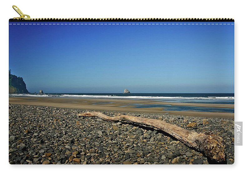 Driftwood Carry-all Pouch featuring the photograph Beach Driftwood by Albert Seger