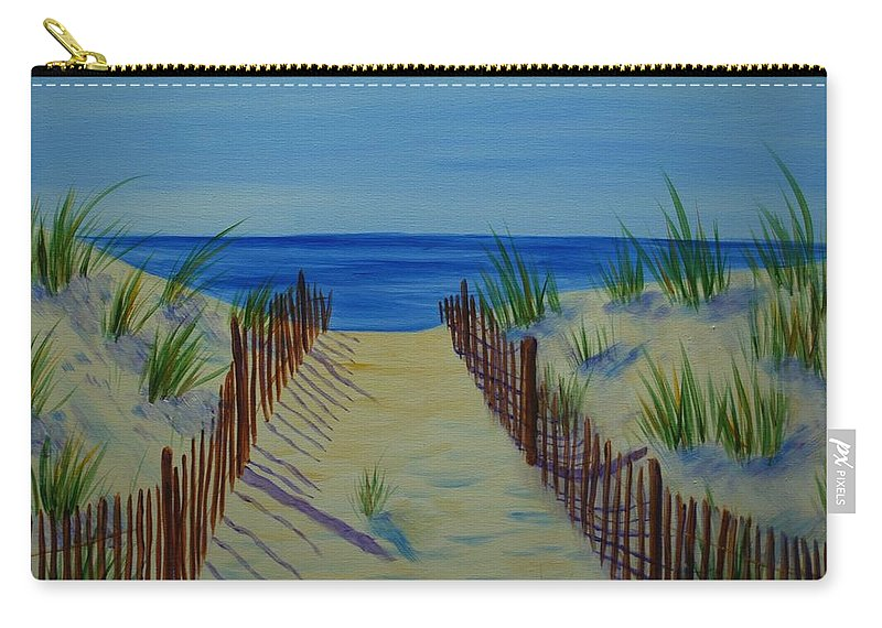 Beach Carry-all Pouch featuring the painting Beach Fence by Emily Page