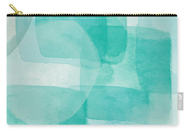 Abstract Carry-all Pouch featuring the painting Beach Glass- Abstract Art By Linda Woods by Linda Woods