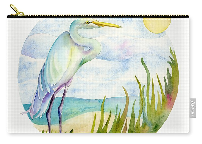 White Bird Carry-all Pouch featuring the painting Beach Heron by Amy Kirkpatrick