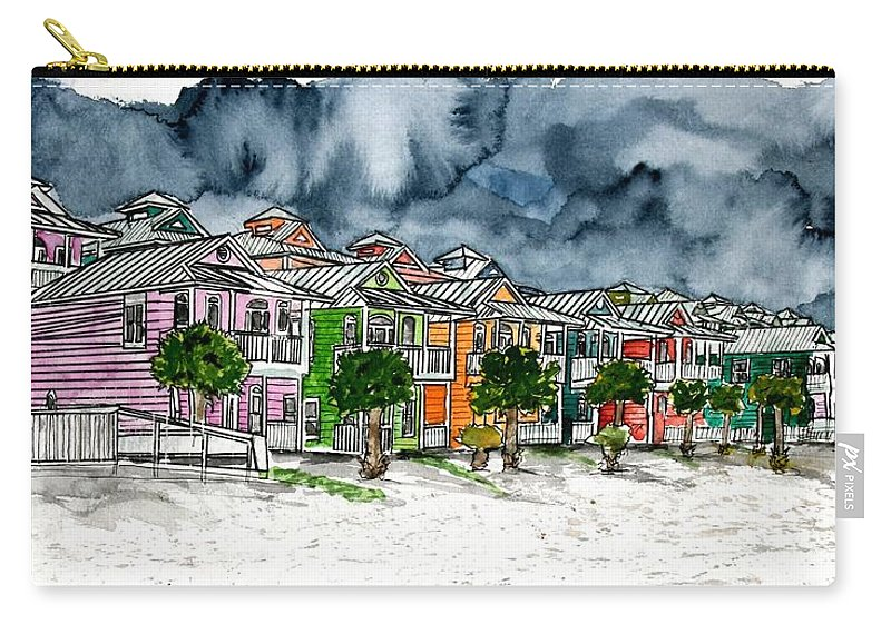 Watercolor Carry-all Pouch featuring the painting Beach Houses Watercolor Painting by Derek Mccrea