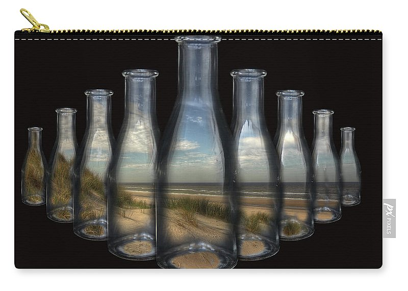 Beach Carry-all Pouch featuring the photograph Beach In Bottles by Harmen Haaima