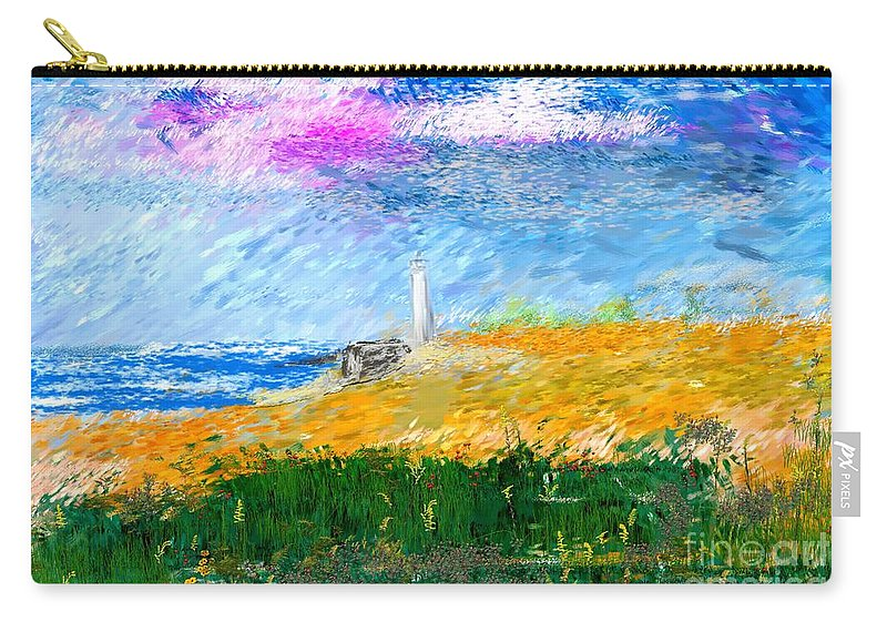 Digital Painting Carry-all Pouch featuring the digital art Beach Lighthouse by David Lane