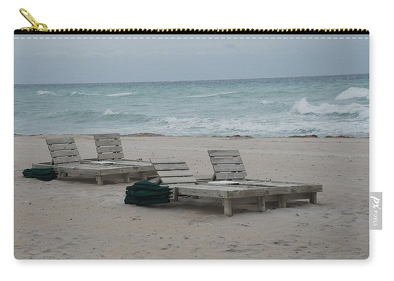 Chairs Carry-all Pouch featuring the photograph Beach Loungers by Rob Hans