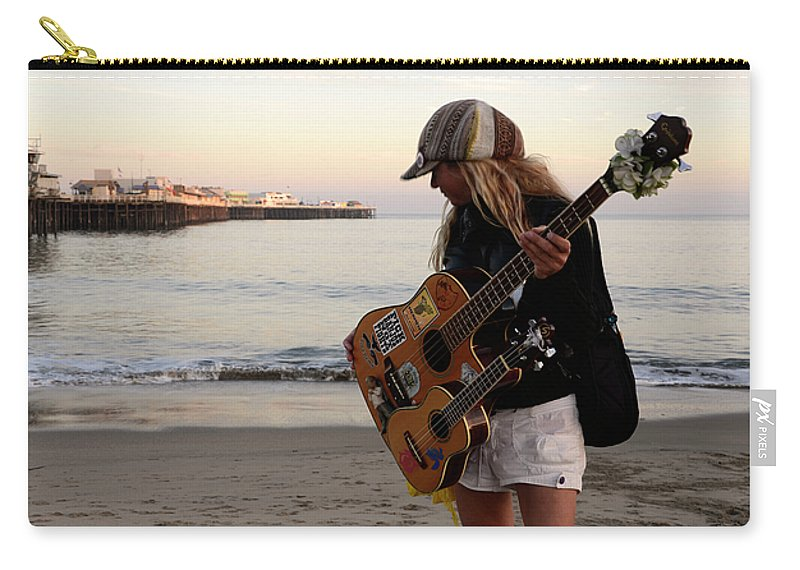 Pier Carry-all Pouch featuring the photograph Beach Musician by Bob Christopher
