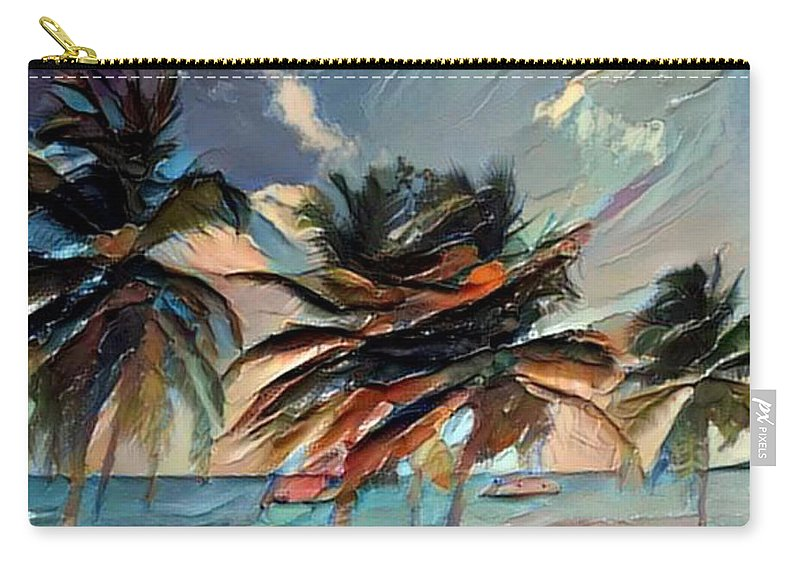 Beach Palms Carry-all Pouch featuring the digital art Beach Palms - Multi 9a by Artistic Mystic