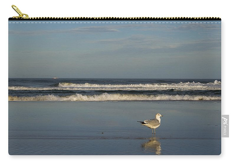 Sea Ocean Gull Bird Beach Reflection Water Wave Sky Carry-all Pouch featuring the photograph Beach Patrol by Andrei Shliakhau