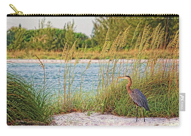 Great Blue Heron Carry-all Pouch featuring the photograph Beach Patrol by HH Photography of Florida