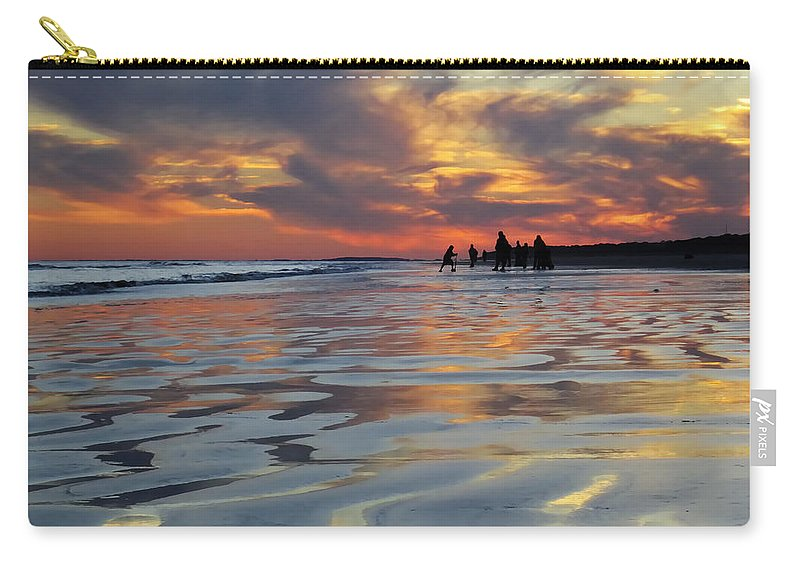 Beach Carry-all Pouch featuring the digital art Beach Play At Dusk by Phill Doherty