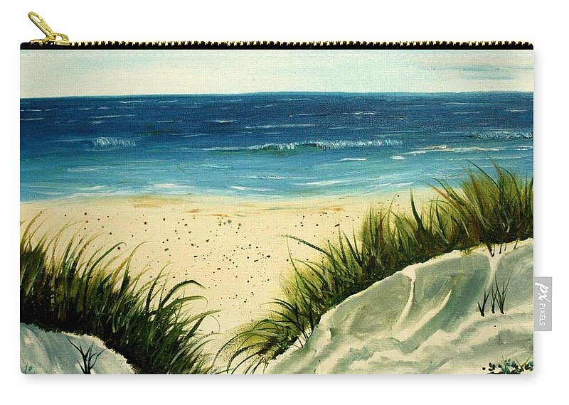Beach Carry-all Pouch featuring the painting Beach Sand Dunes Acrylic Painting by Derek Mccrea