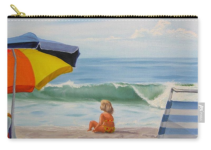 Seascape Carry-all Pouch featuring the painting Beach Scene - Childhood by Lea Novak