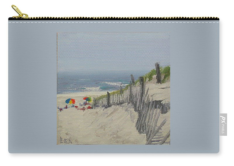 Beach Carry-all Pouch featuring the painting Beach Scene Miniature by Lea Novak