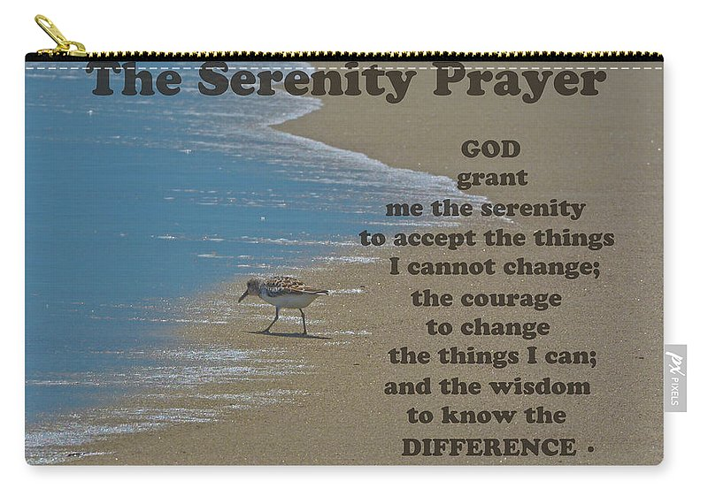 The Serenity Prayer Carry-all Pouch featuring the photograph Beach Serenity Prayer by Sandi OReilly