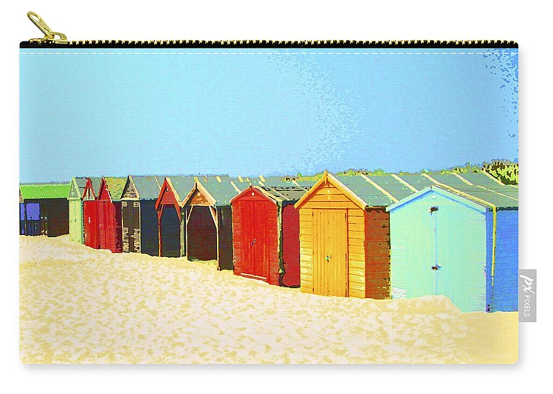Beach Carry-all Pouch featuring the mixed media Beach Shacks Down Under by Dominic Piperata