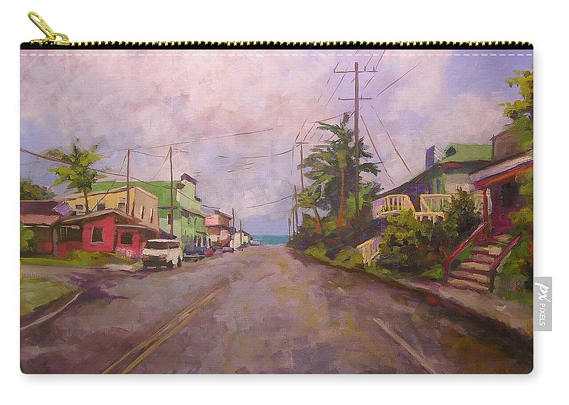 Tropical Carry-all Pouch featuring the painting Beach Town by Mary McInnis