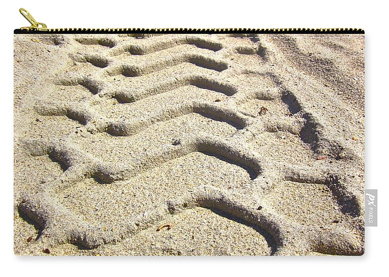Photograph Of Tire Tracks Carry-all Pouch featuring the photograph Beach Tracks by Gwyn Newcombe