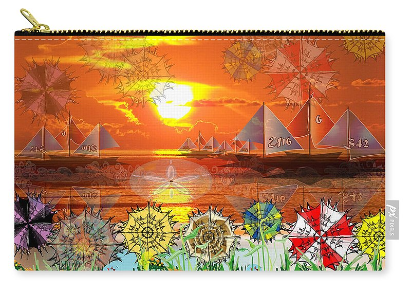 Sunset Carry-all Pouch featuring the digital art Beach Umbrellas at Sunset by George Pasini