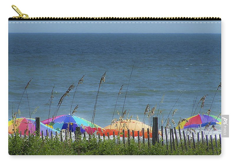 Beach Carry-all Pouch featuring the photograph Beach Umbrellas by Teresa Mucha