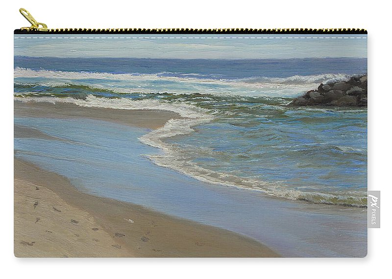 Seascape Carry-all Pouch featuring the painting Beach with Rocks by Lea Novak