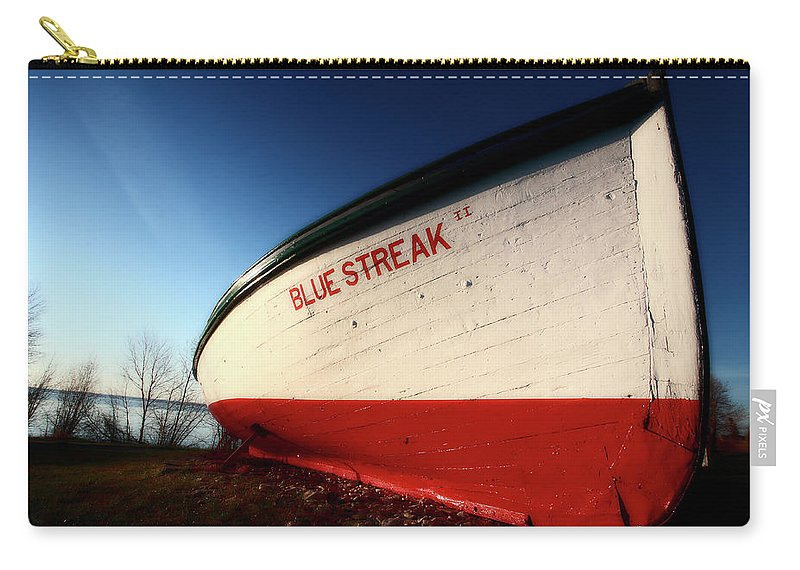 Fine Art Carry-all Pouch featuring the digital art beached fishing boat at Hecla on Lake Winnipeg by Mark Duffy