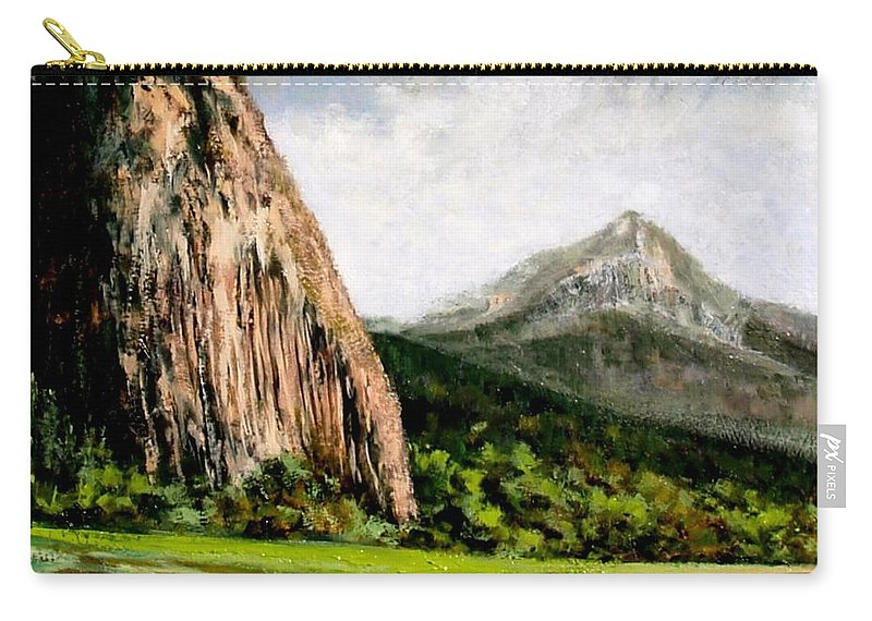 Landscape Carry-all Pouch featuring the painting Beacon Rock Washington by Jim Gola