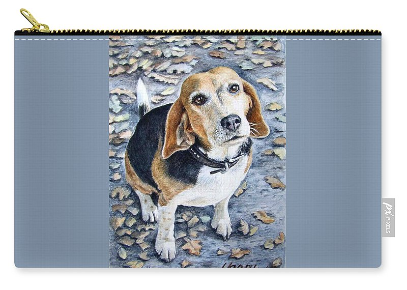 Dog Carry-all Pouch featuring the painting Beagle Nanni by Nicole Zeug