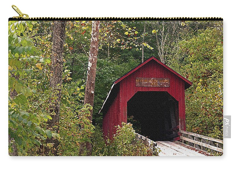 Covered Bridge Carry-all Pouch featuring the photograph Bean Blossom Bridge I by Margie Wildblood