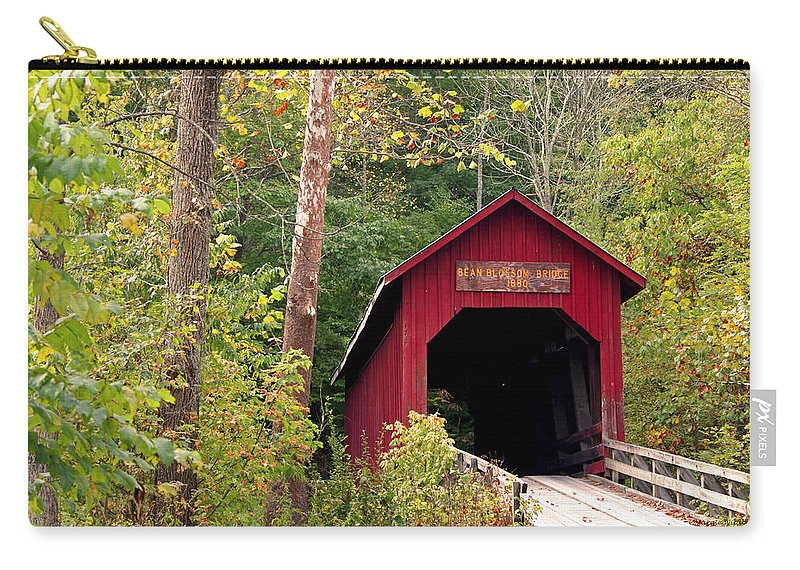 Covered Bridge Carry-all Pouch featuring the photograph Bean Blossom Bridge II by Margie Wildblood