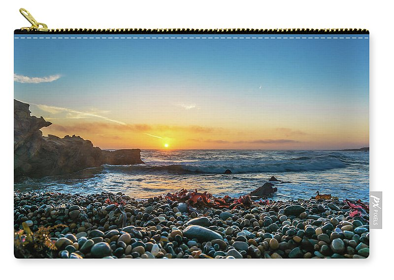 Landscape Carry-all Pouch featuring the pyrography Bean Hollow State Beach, Pebble Beach by Javier Flores