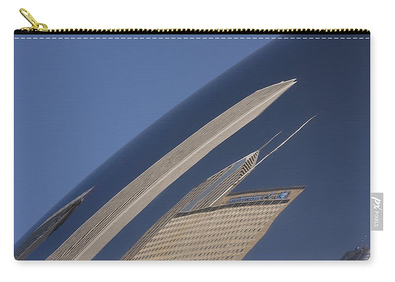 Chicago Windy City Wind Sky Blue Bean Reflection Art Park Building City Metro Urban Carry-all Pouch featuring the photograph Bean Reflection by Andrei Shliakhau