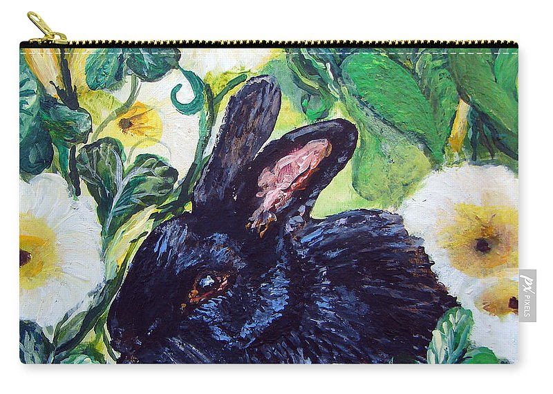 Bean Carry-all Pouch featuring the painting Bean The Magical Rabbit -pet Portrait by Ashleigh Dyan Bayer