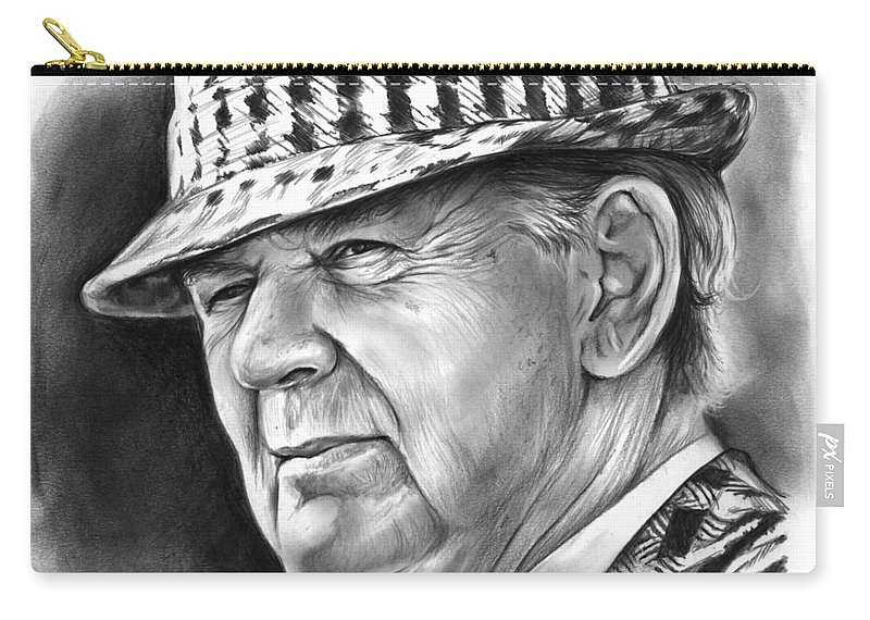Football Carry-all Pouch featuring the drawing Bear Bryant by Greg Joens