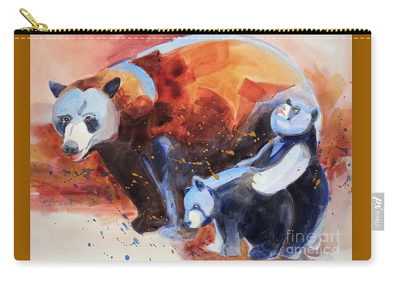 Paintings Carry-all Pouch featuring the painting Bear Family Outing by Kathy Braud