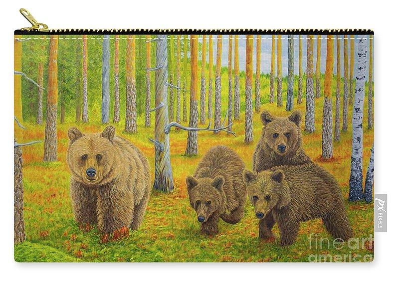 Animal Carry-all Pouch featuring the painting Bear Family by Veikko Suikkanen