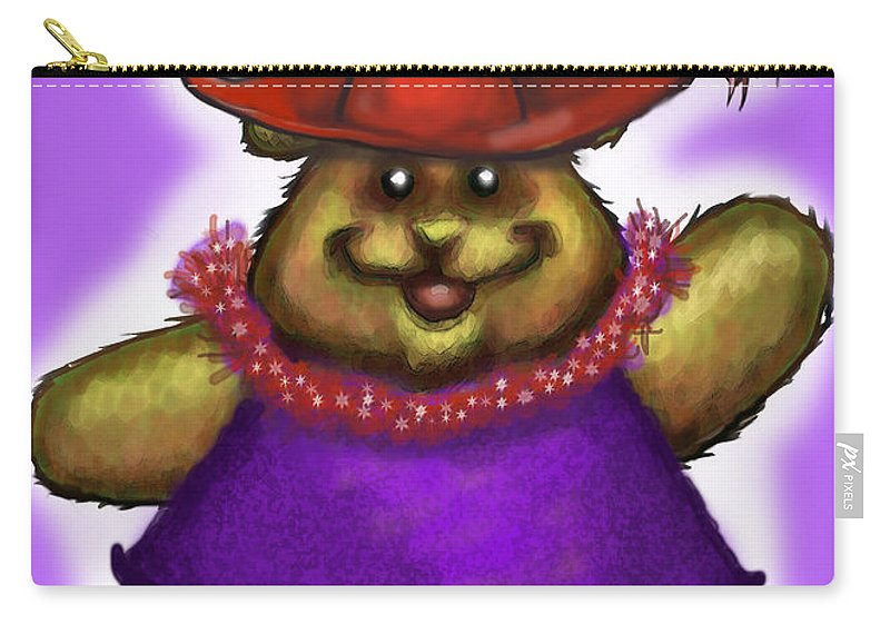 Red Hat Carry-all Pouch featuring the greeting card Bear In Red Hat by Kevin Middleton