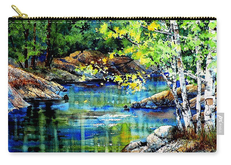 Landscape Painting Carry-all Pouch featuring the painting Bear Paw Stream by Hanne Lore Koehler